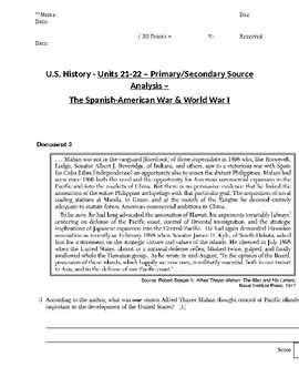 US History - Primary & Secondary Sources - Spanish-American War & World War I