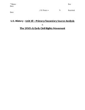 US History - Primary & Secondary Sources - The 1950's & Early Civil Rights