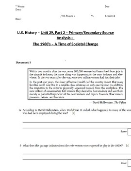 US History - Primary & Secondary Sources - The 1960's - A Time of Social Change