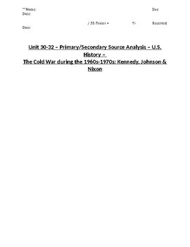 US History - Primary & Secondary Sources - The Cold War After 1960