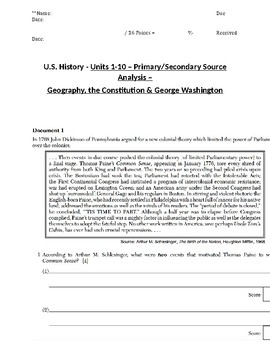 US History - Primary & Secondary Sources - The Constitution & George Washington