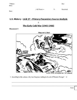 US History - Primary & Secondary Sources - The Early Cold War (1945-1960)