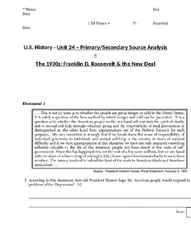 U.S. - 11th Gr. - Primary & Secondary Sources - Depression/New Deal (12/20)