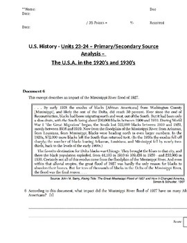 U.S. - 11th Gr. - Primary & Secondary Sources - Society in the 1920s/30s (11/20)