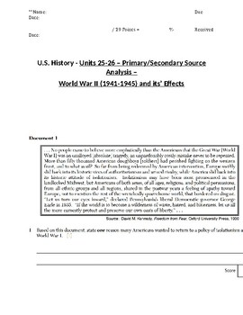 U.S. - 11th Gr. - Primary & Secondary Sources - World War II & Effects (13/20)