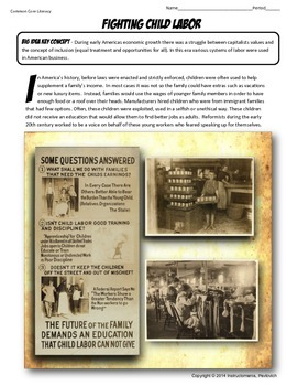US History Primary Source Fight Child Labor Activity