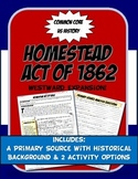 US History Primary Source The Homestead Act Activity