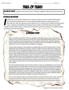 US History Primary Source The Trail of Tears: A Grandfather's Story  Activity