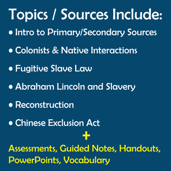 US History Primary Sources for Middle Schoolers