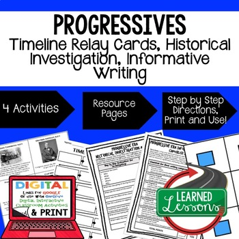 US History Progressive Era Timeline Relay & Writing Prompt with Google Link