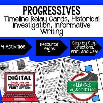 Progressive Era Timeline Relay & Writing Prompt with Google Link