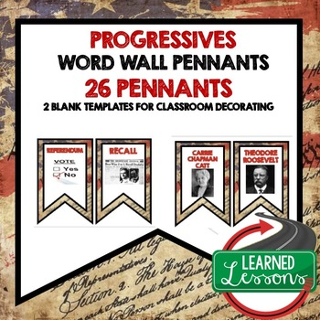 US History Progressives Word Wall Pennants (26 Words)