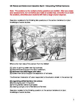 High School US History Question Bank - Interpreting Political Cartoons