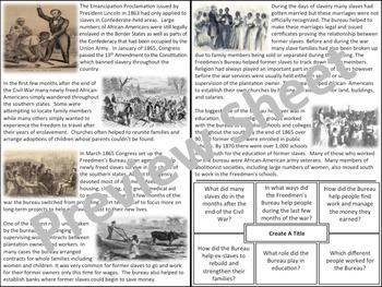 The Freedmen's Bureau - Homework