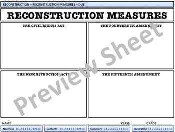 Reconstruction Measures - U.S. History Homework