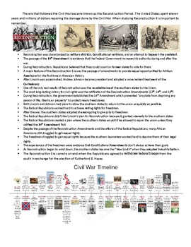 US History: Reconstruction Test Review