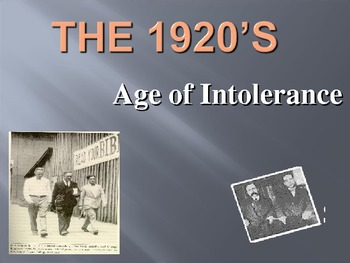 Age of Intolerance PowerPoint Presentation (U.S. History)