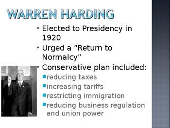 Harding & Republican Prosperity PowerPoint Presentation (Reform / World War 1)