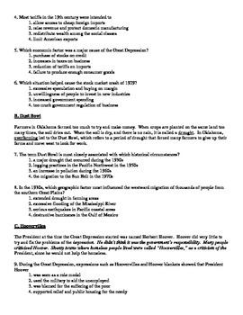 US History Regents Review Packet / Prep - Great Depression