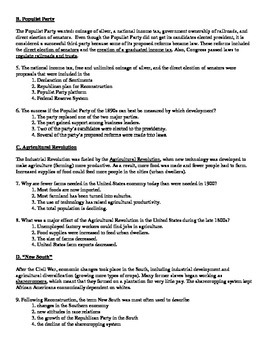 US History Regents Review Packet / Prep - Industrialization and Progressivism