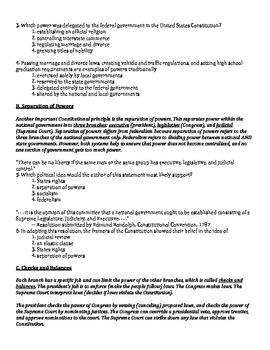 US History Regents Review Packet / Prep - The Constitution