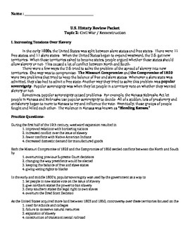 US History Regents Review Packet / Prep - the Civil War