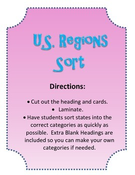 US History Regions Flashcards and Regions Sort Center Game. BUNDLE!