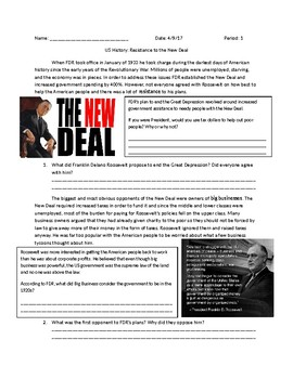 US History: Resistance to the New Deal