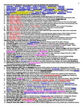 US History Review Cheat Sheet