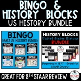 US History Review Game Bundle Bingo and History Blocks STAAR Review 8th