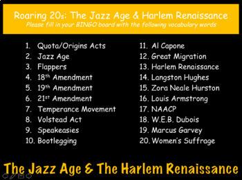 Roaring Twenties & Harlem Renaissance: US History Review PowerPoint Presentation
