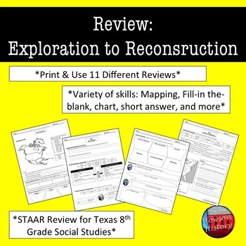 US History Review Sheets (STAAR Social Studies): Exploration to Reconstruction