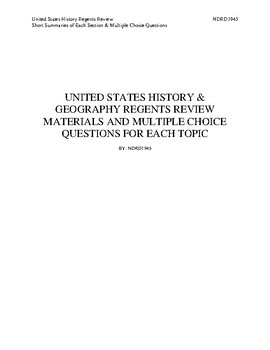 US History Review With Multiple Choice Questions
