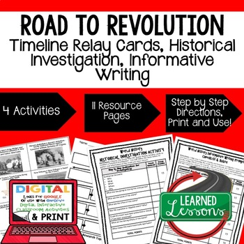 US History Road to Revolution Timeline & Writing (Paper & Google Drive)