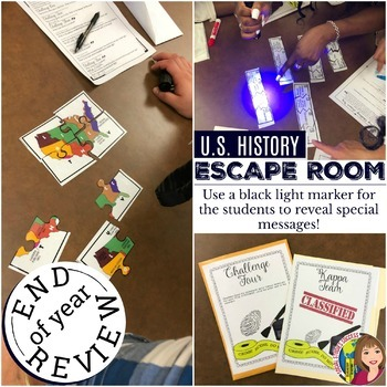 US History End of Year Escape Room Activity