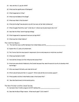 u s history second semester final exam study guide by social rh teacherspayteachers com us history final exam study guide us history study guide pdf