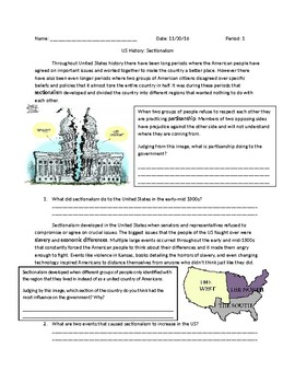 US History: Sectionalism