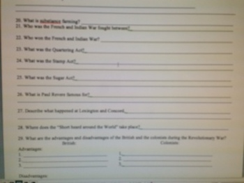 U.S. History Semester 1 Exam (100 ques, Written Response, Study Guide)