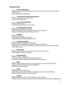 U.S. History Semester 1 Final Review Packet