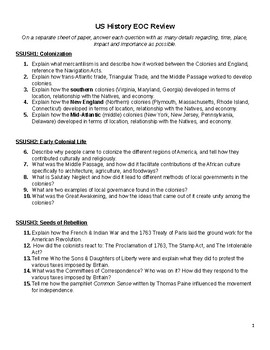 US History Short Answer EOC Study Guide (GSE aligned) Pt 1