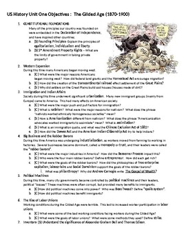 2016 US History STAAR Unit One Most Tested Topics: The Gilded Age