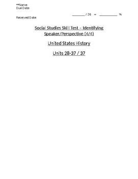 U.S. History - 11th Grade - Skills Quiz - Analyzing Speaker Perspective (4/4)