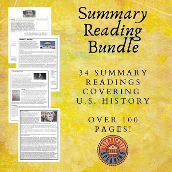 US History Summary Reading Bundle!