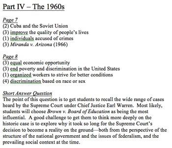 U.S. History Survey - Answer Key