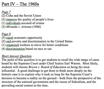 U.S. History Survey - Answer Key