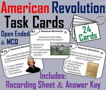 US History Task Cards Bundle: 13 Colonies, American Revolution, Civil War, WW1-2