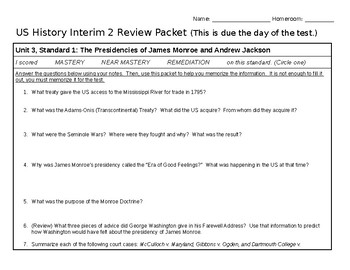 US History Test Review Packet
