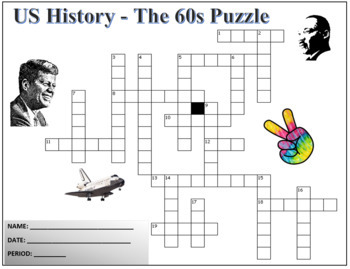 US History - The 1960s Terminology Crossword Puzzle Activity Worksheet