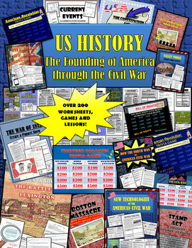 US History: The Founding of America through the Civil War: HUGE LOT OF RESOURCES