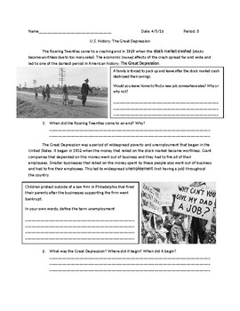 US History: The Great Depression